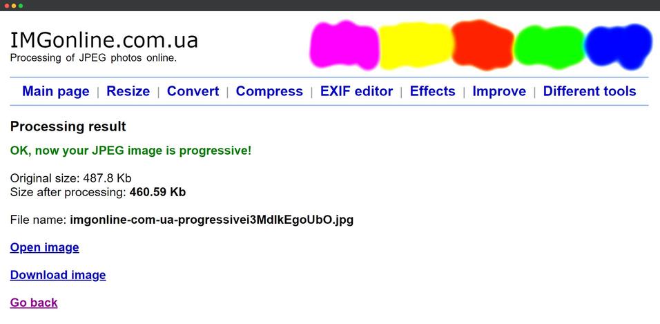 convert JPEG to Progressive JPEG using IMGonline