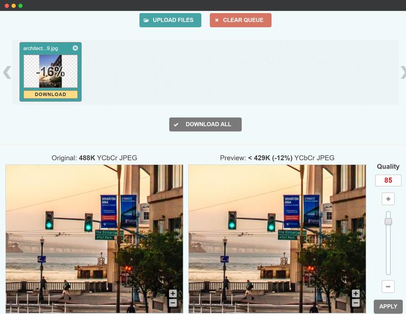 convert JPEG to Progressive JPEG using Optimizilla