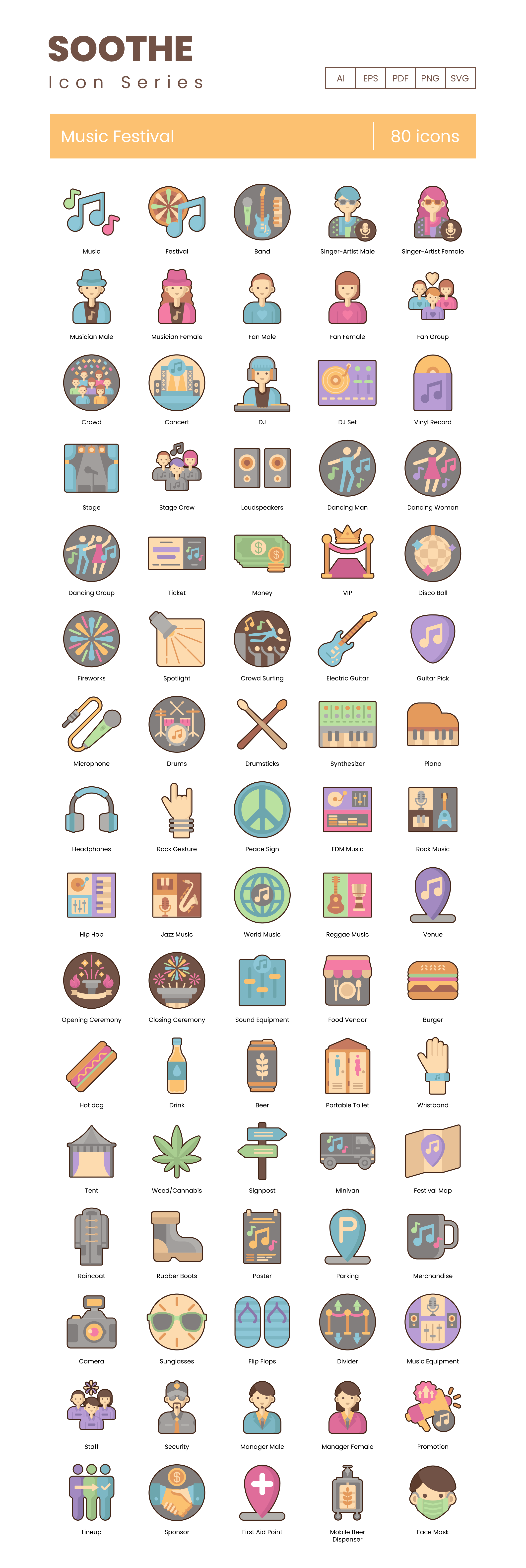 Music Festival Icon Set Preview Image