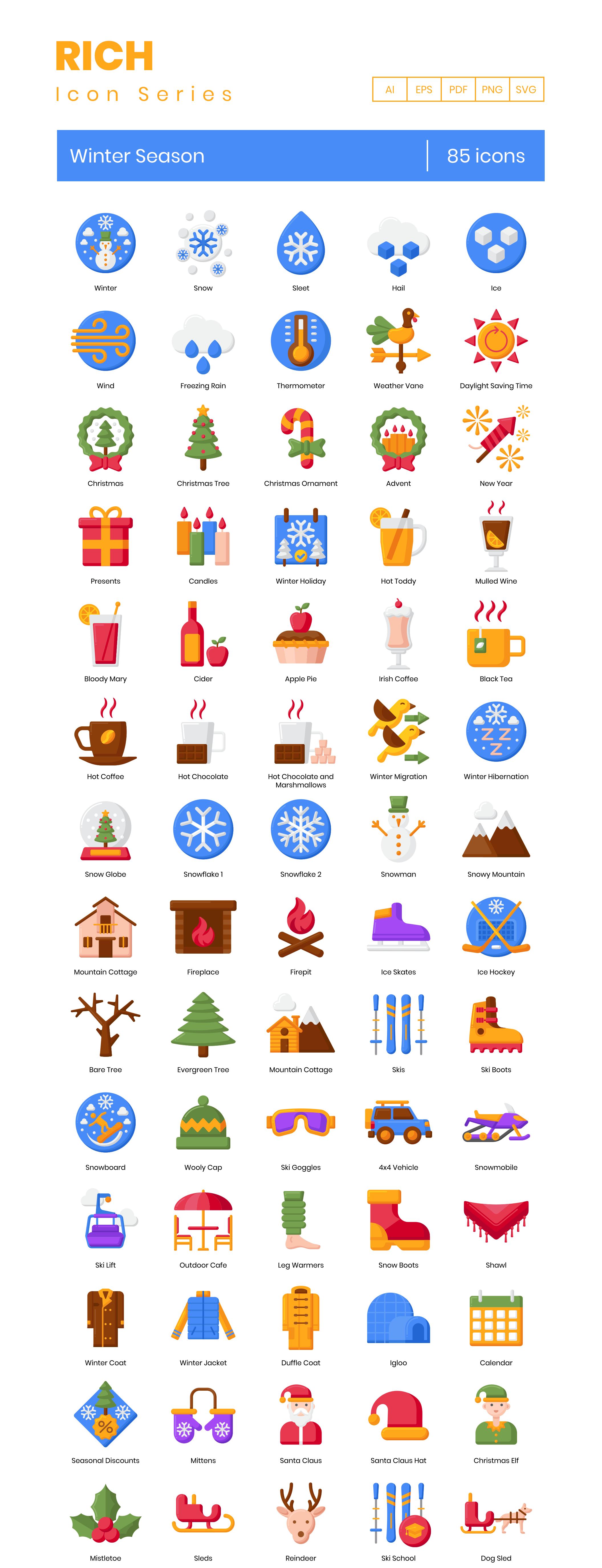 Winter Season Icon Set Preview Image