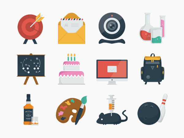 100 Clean Flat Icons