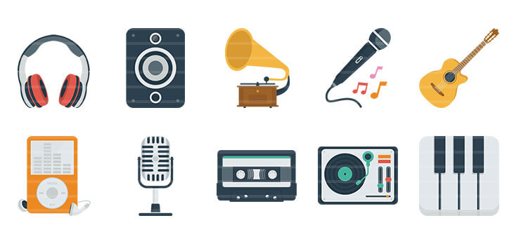 Audio / Music Flat Icons