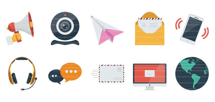 Communication Flat Icons