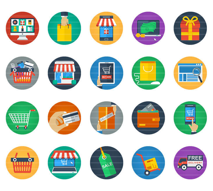 E-Commerce / Shopping Flat Icons