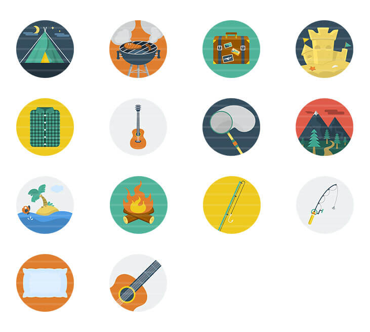 Nature / Camping Flat Icons