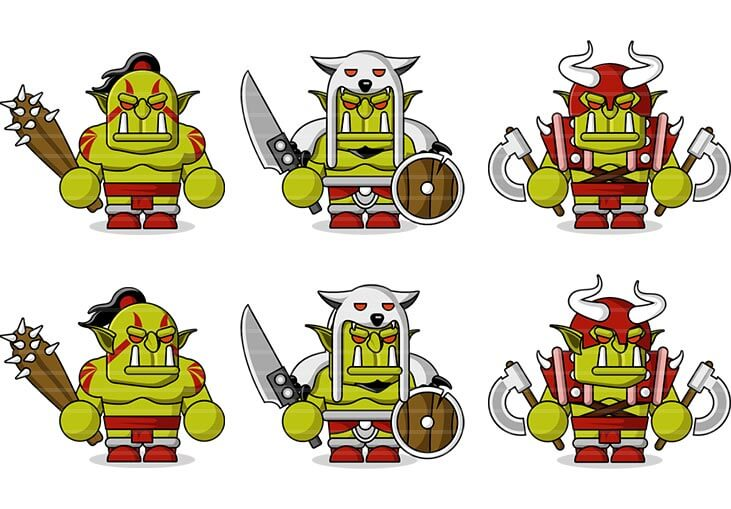 Flat Orc Characters