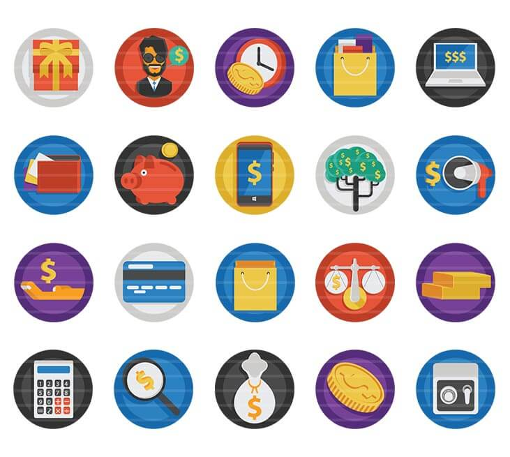 Money & Shopping Flat Icons