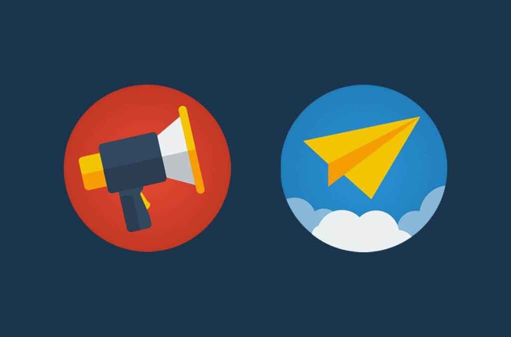 megaphone and paperplane flat icons