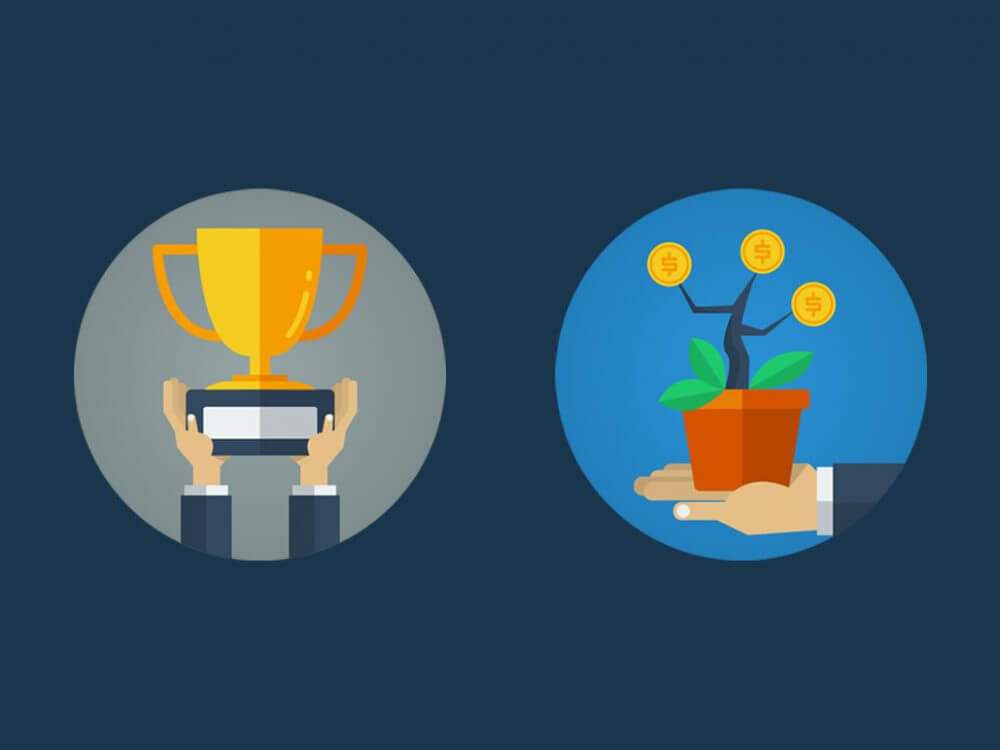 trophy and money tree icons