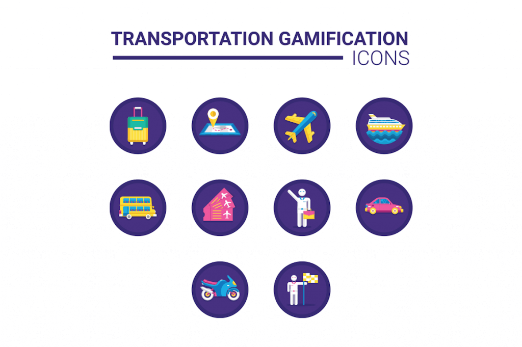 10 transportation gamification icons