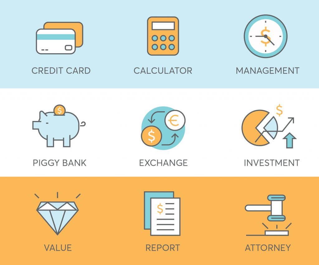 9 finance icons for fintech business
