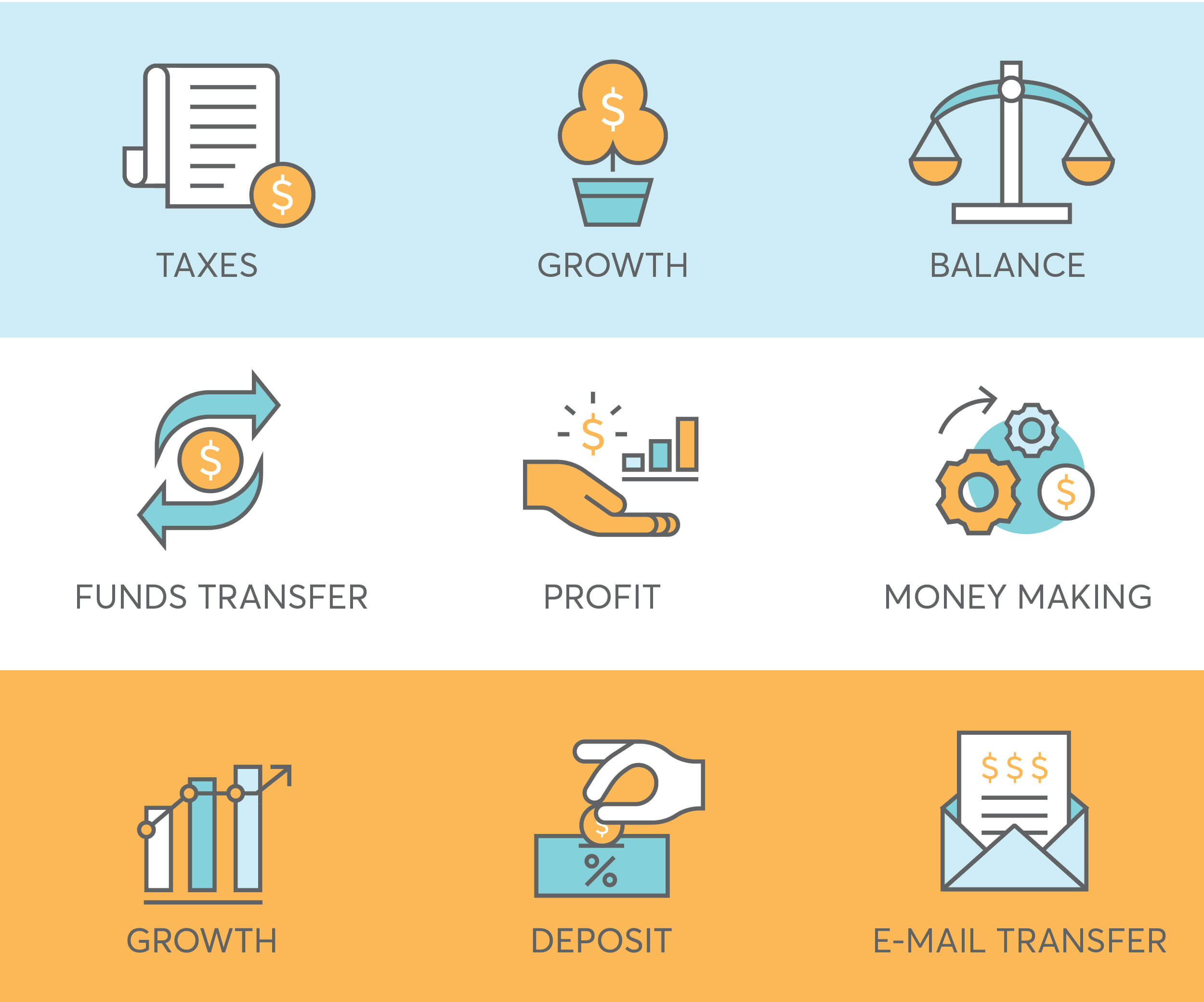 9 finance icons for fintech startup such as tax, profit, depost
