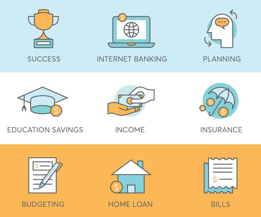 9 finance icons for fintech startup such as success, budgeting, bills, insurance