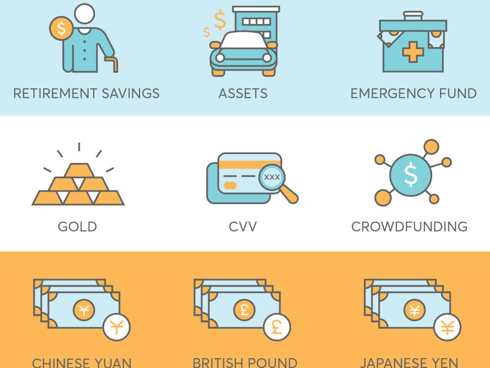 9 finance icons for fintech startup such as savings, assets, crowdfunding, currency