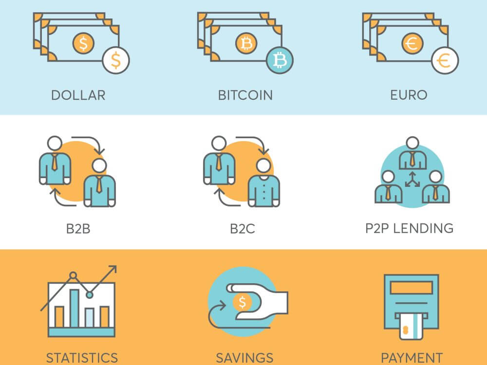 9 finance icons for fintech startup such bitcoin, p2p lending, statistics, payment