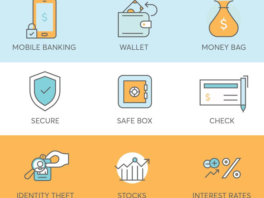 9 finance icons for fintech startup such as mobile banking, check, stocks and interest rates