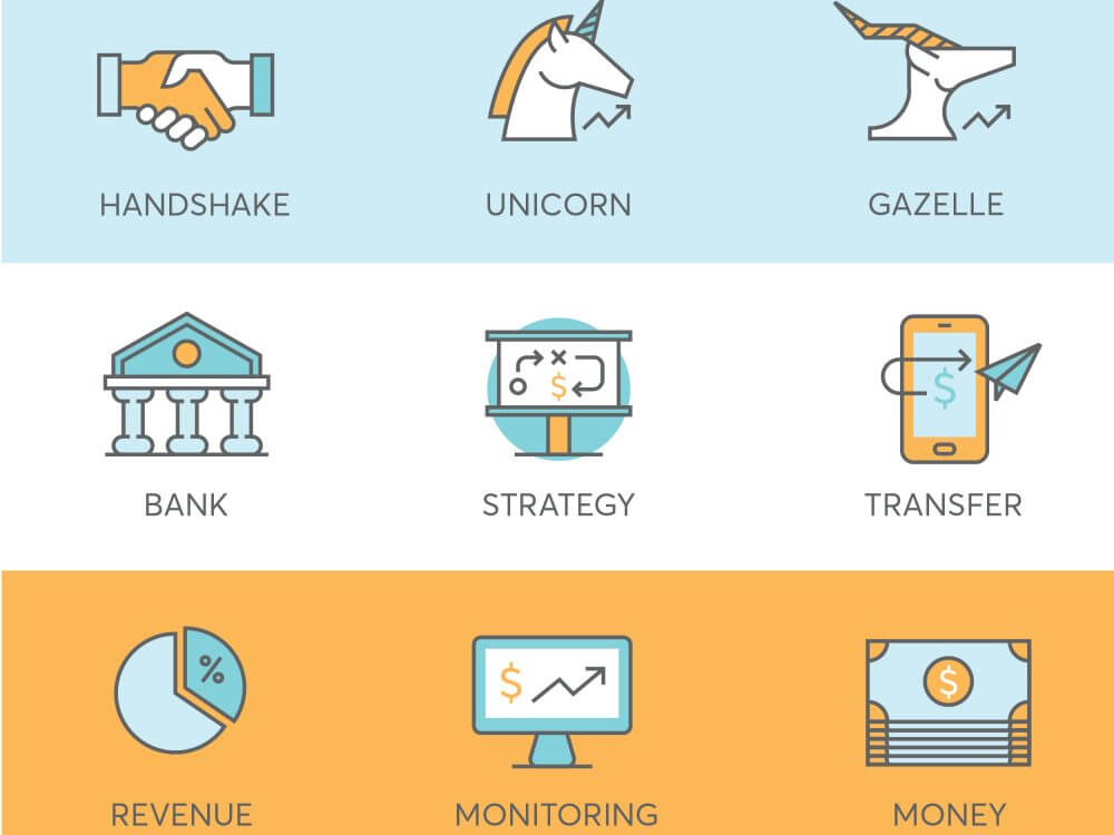 9 finance icons for fintech startup such as unicorn, gazelle, strategy, revenue