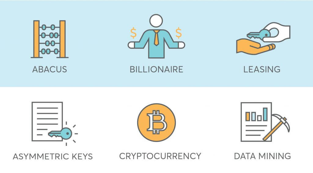 9 finance icons for fintech startup such as cryptocurrency, leasing, asymmetric keys, data mining