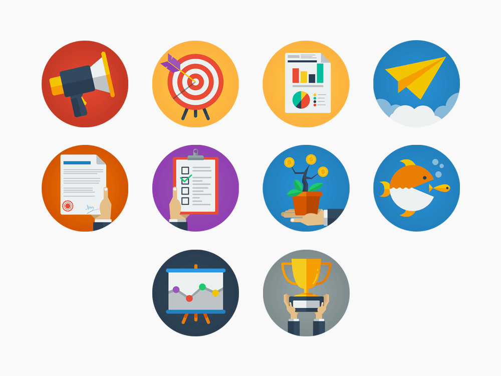 Flat Animated GIF Icon Set for Business and Strategy