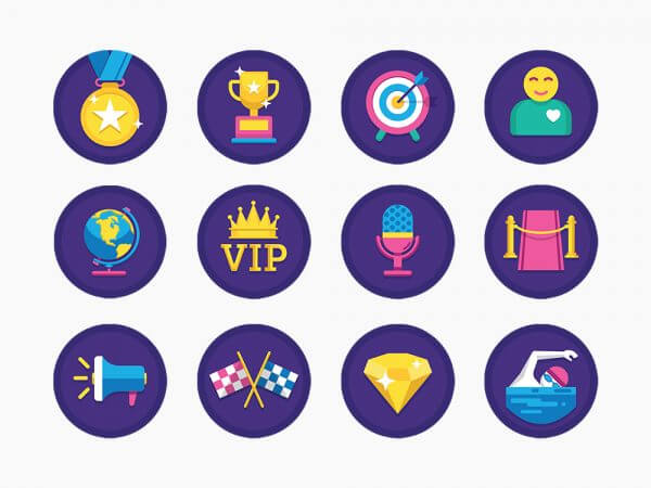 flat icons with game design elements