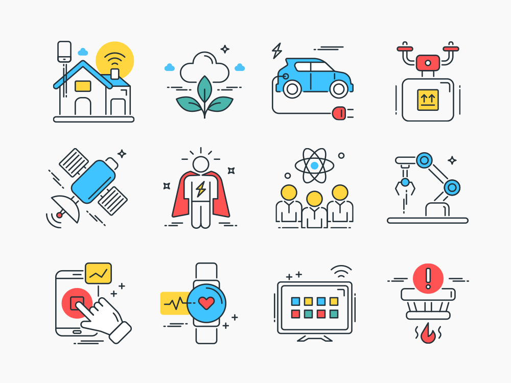 smart technology flat icons
