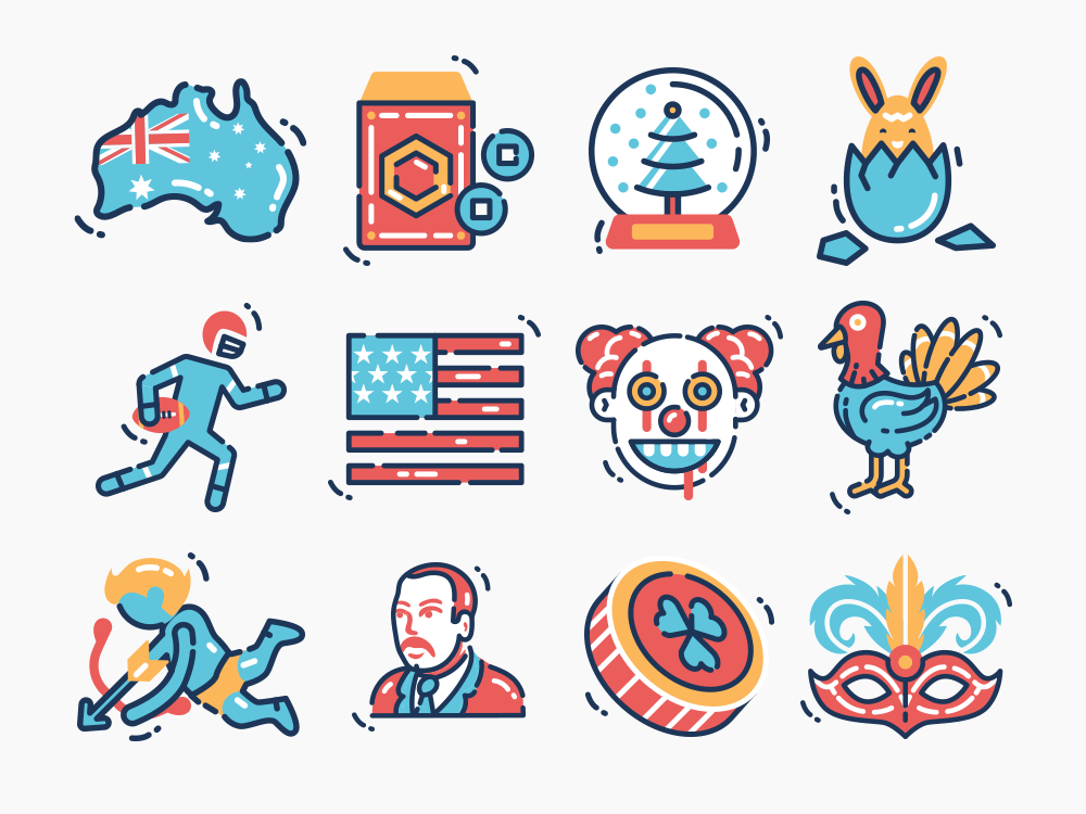 creative holiday icons design
