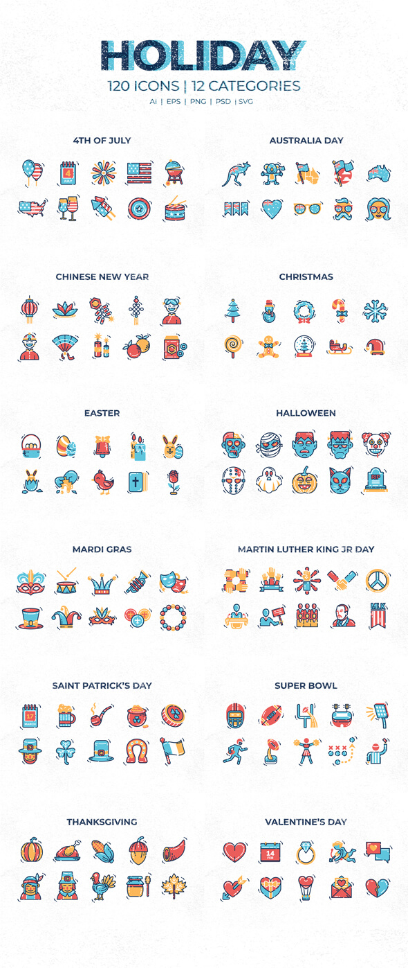 120 holiday icons full preview