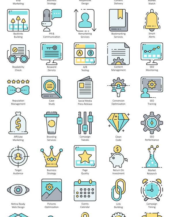 search engine optimisation flat vector icons