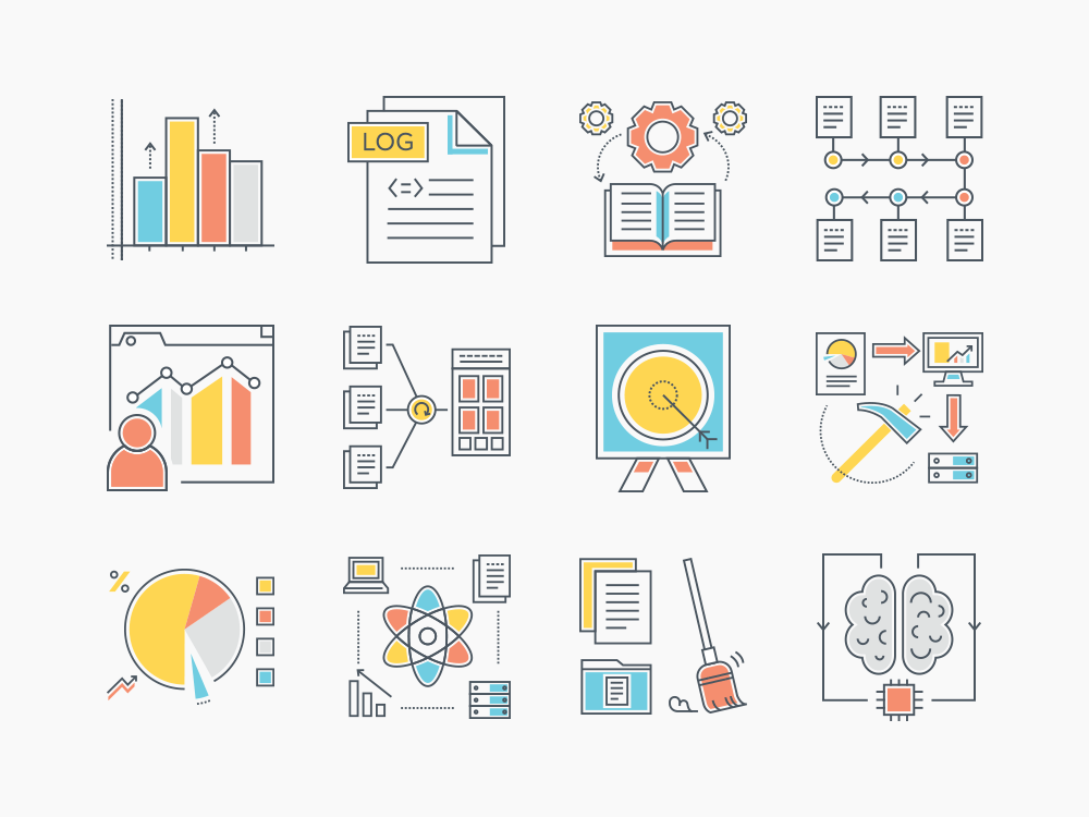 73 data analytics flat icons