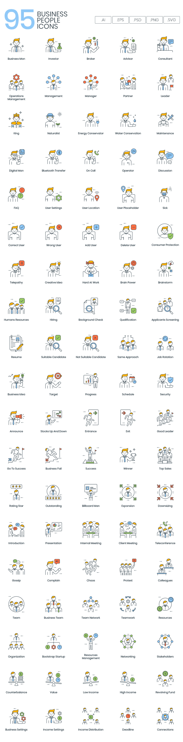 95 business people vector icons