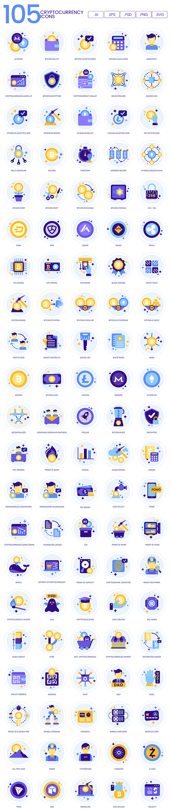 crypto currency vector icons