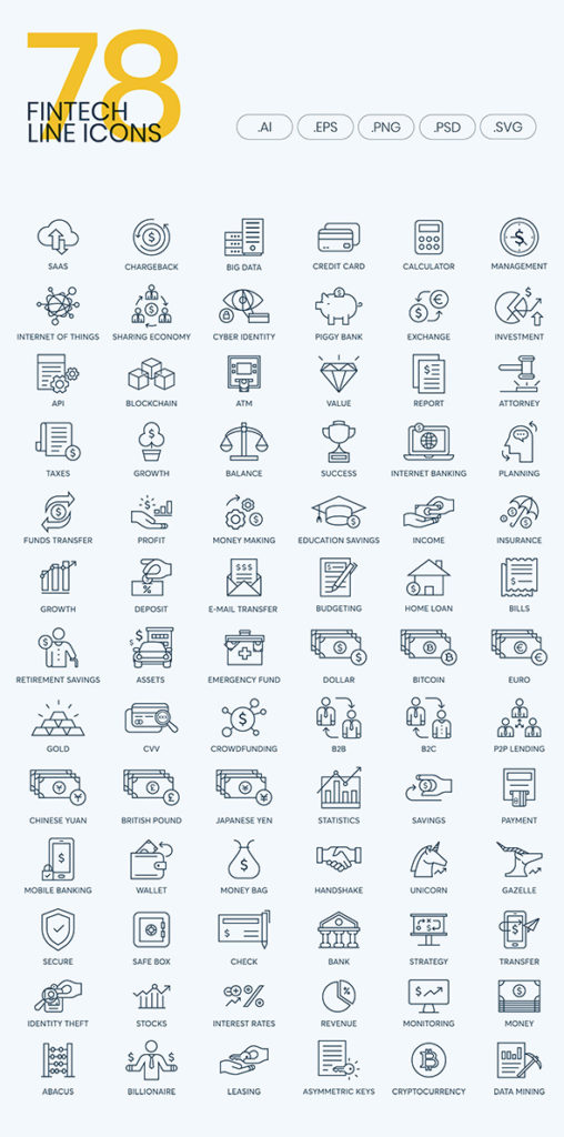 fintech line icon pack