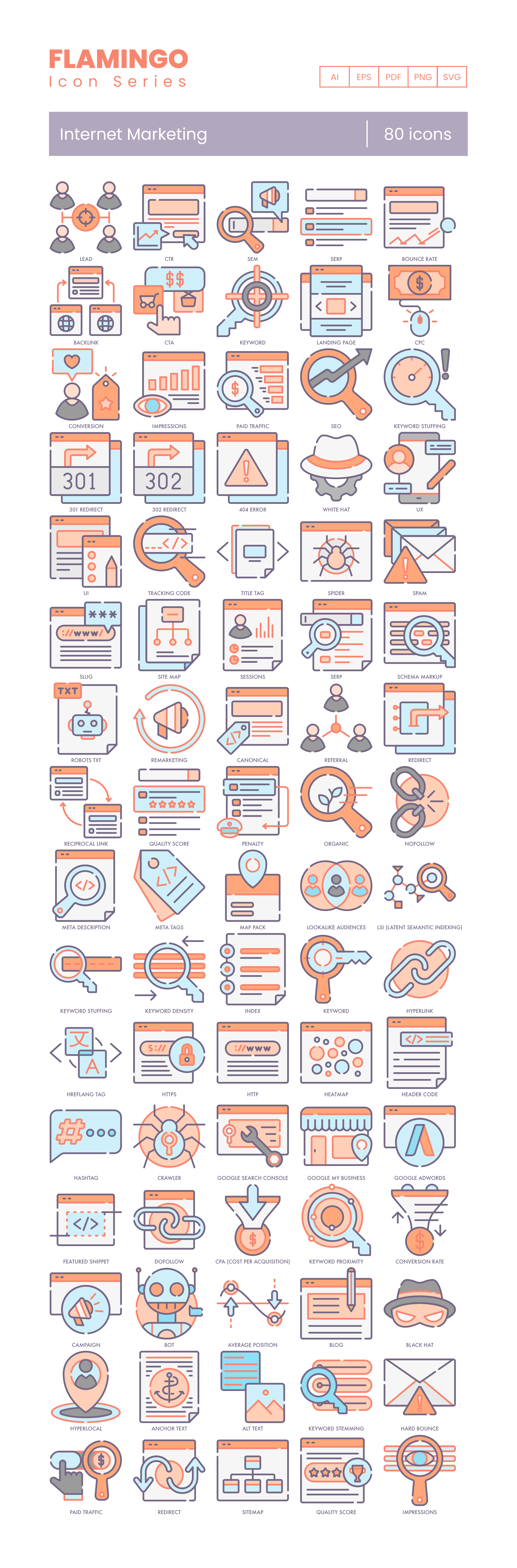 80 Internet Marketing Icons - Flamingo Series preview