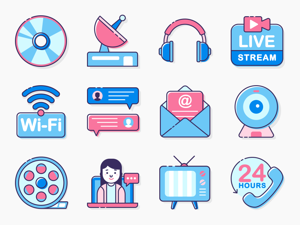 Communication and Media Icon Set