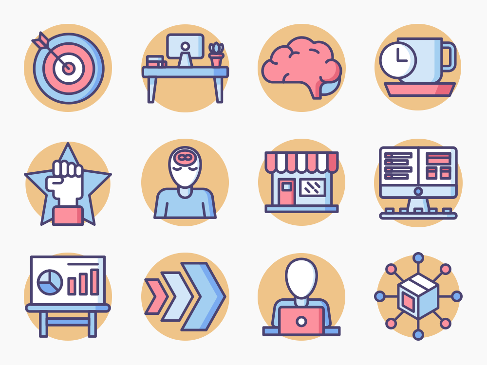 Startup Rounded Icon Set
