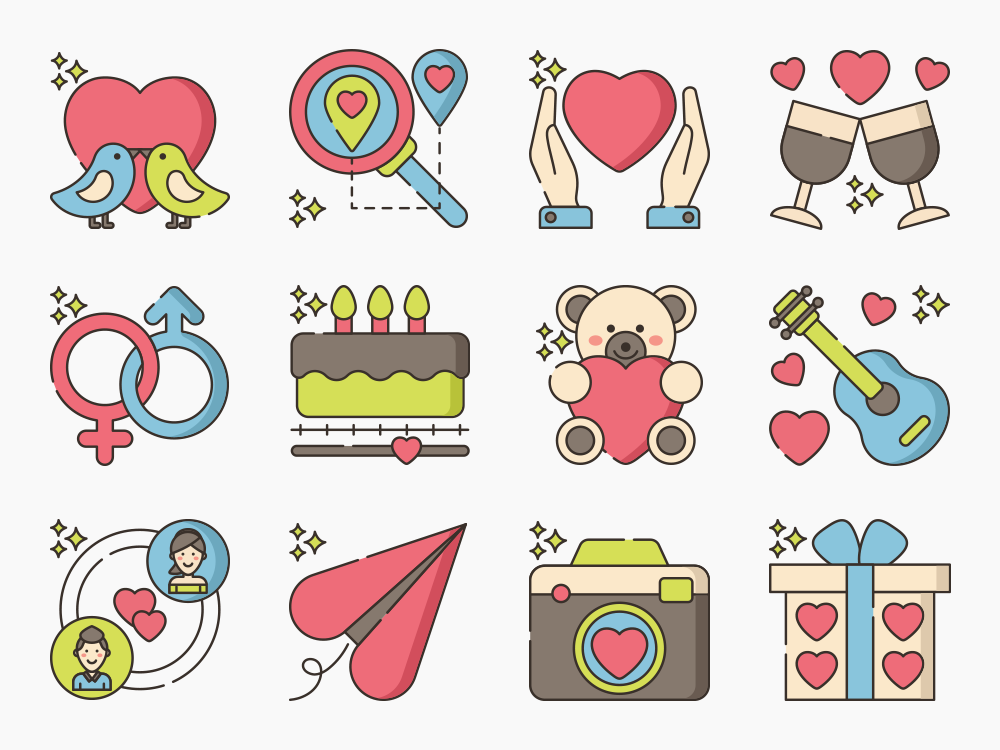 60 Dating App Icon Set 3