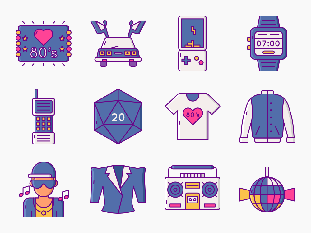 Eighties 80's Nostalgia Icons