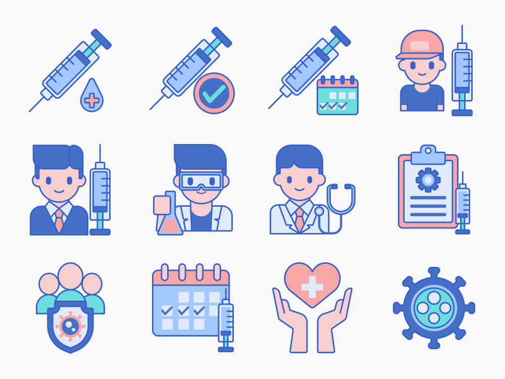 vaccine and vaccinations icons