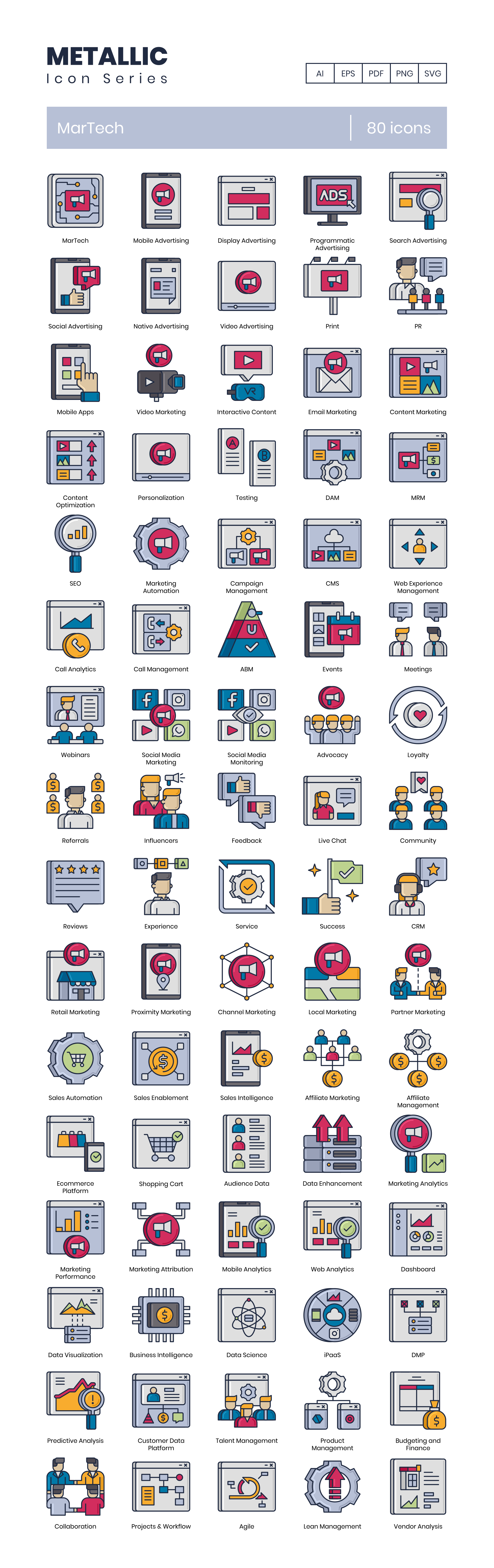 Marketing technology icons
