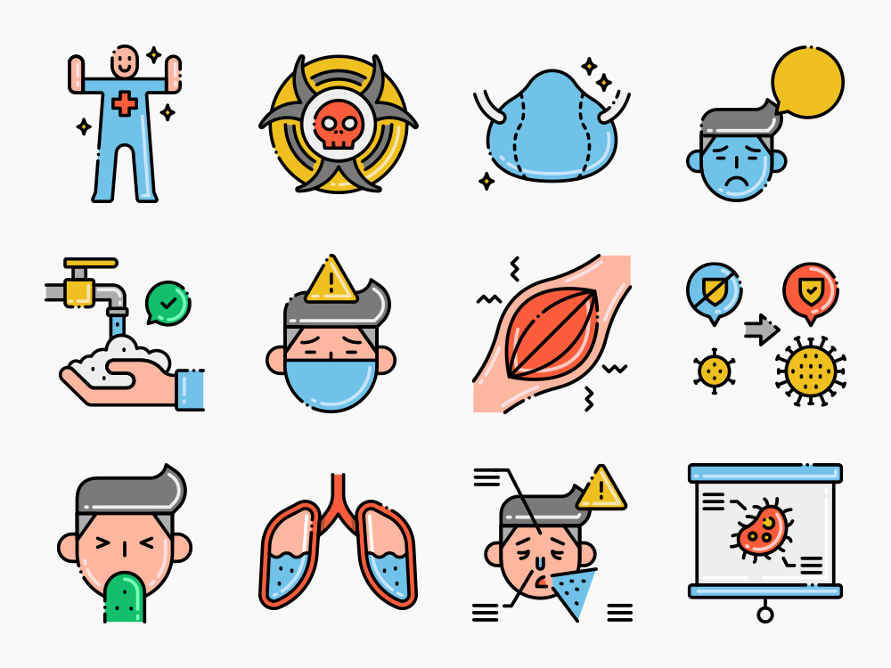 Virus Transmission Vector Icon Set
