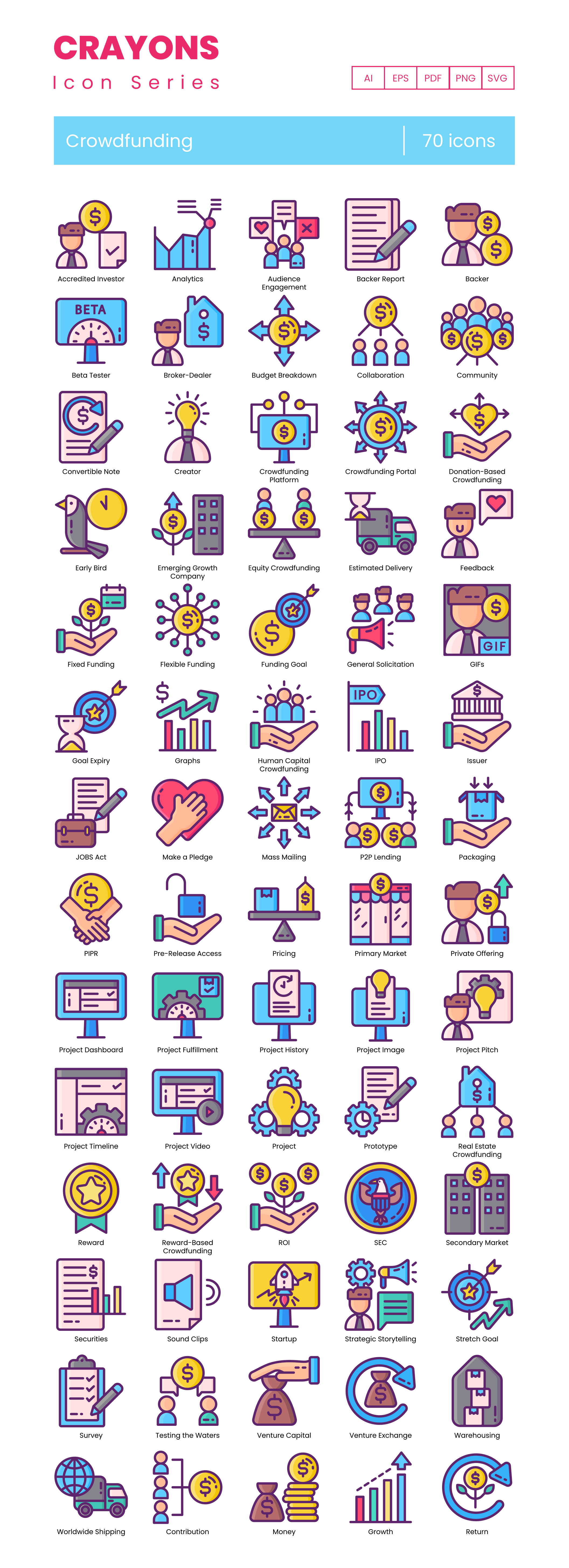 crowdfunding vector icons
