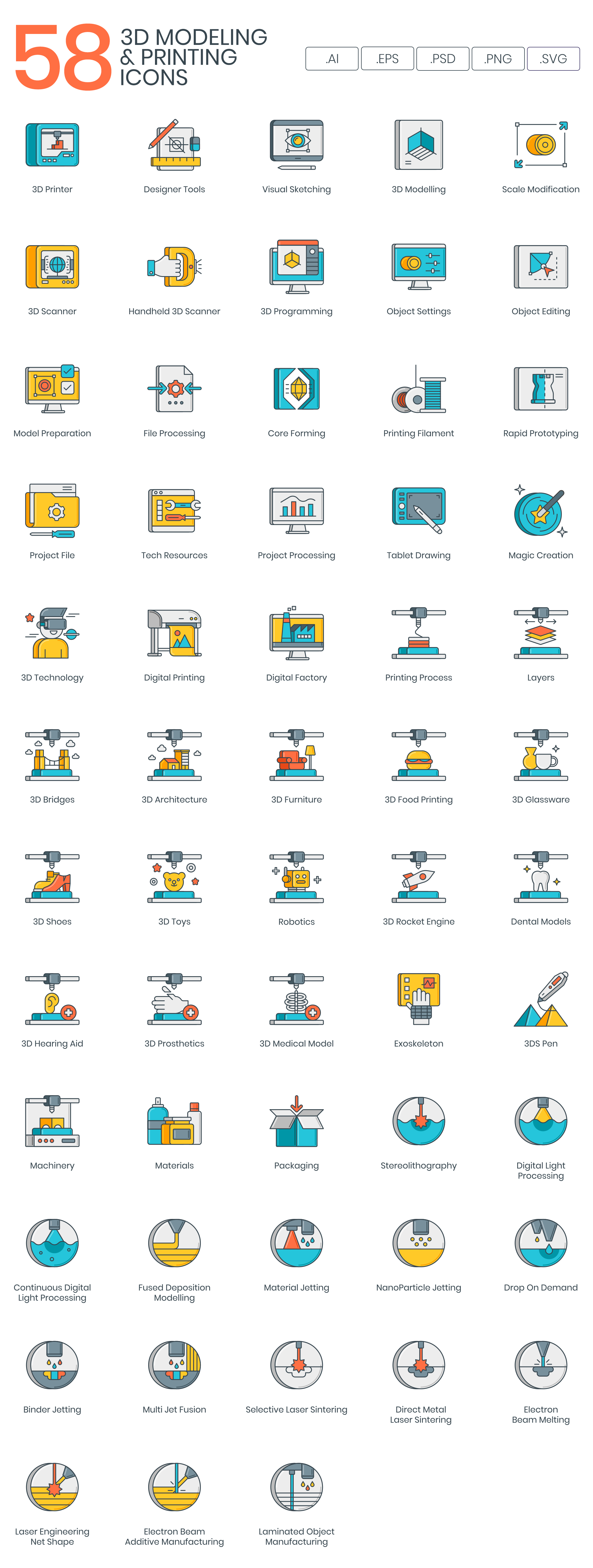 3D Printing-Modeling-vector-icons