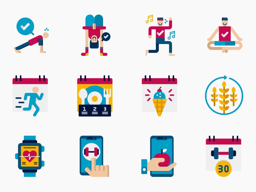 fitness at home icon set