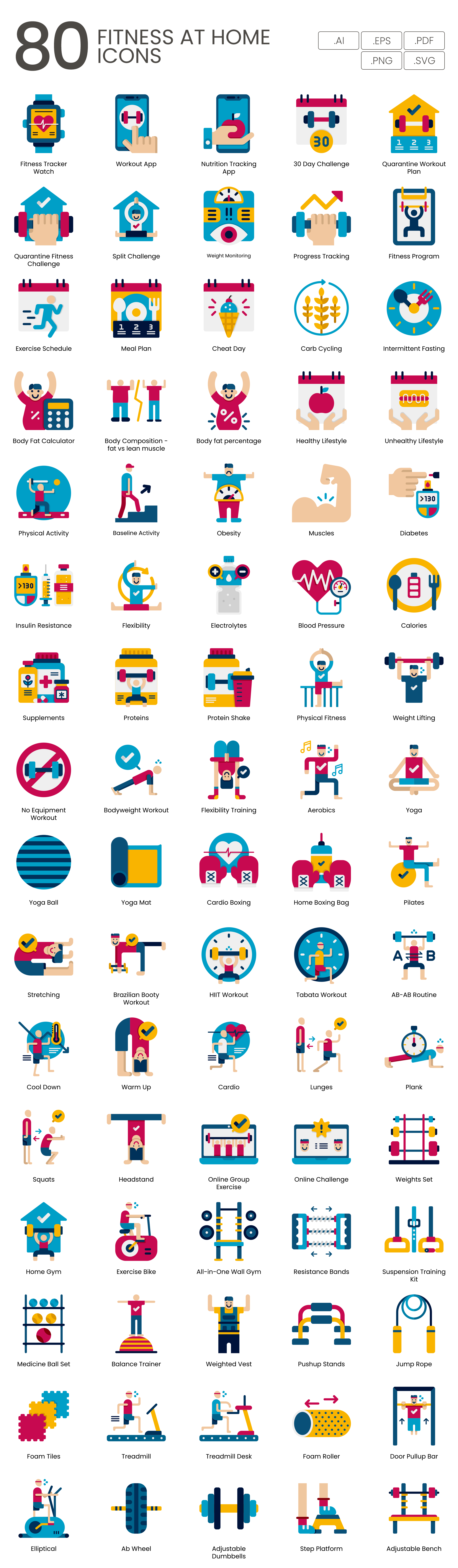 fitness home vector icons