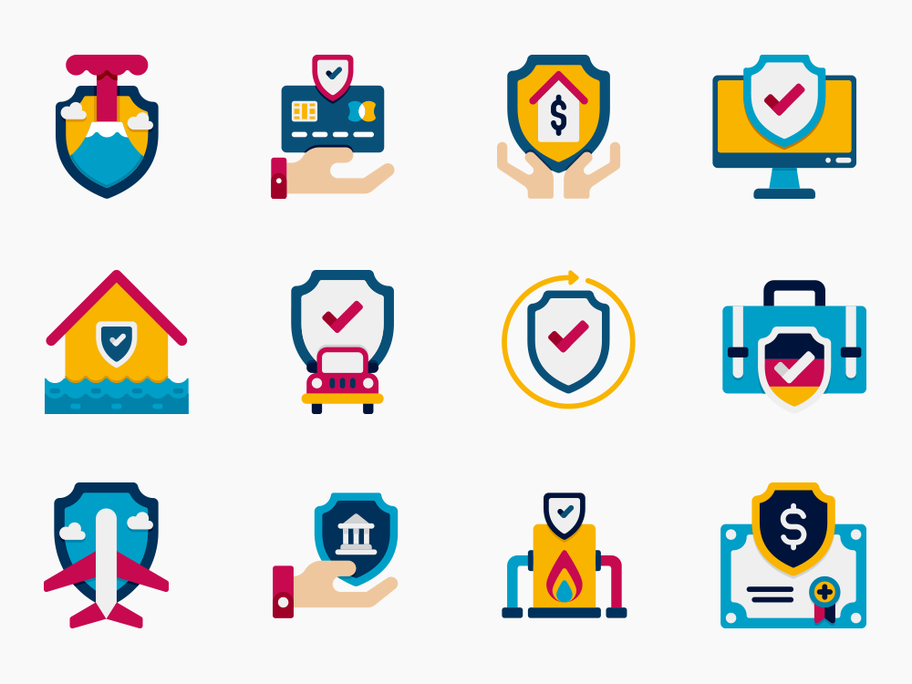 insurance vector icon set