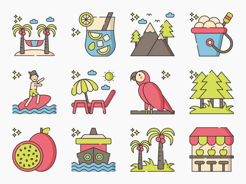 tropical flat icon set
