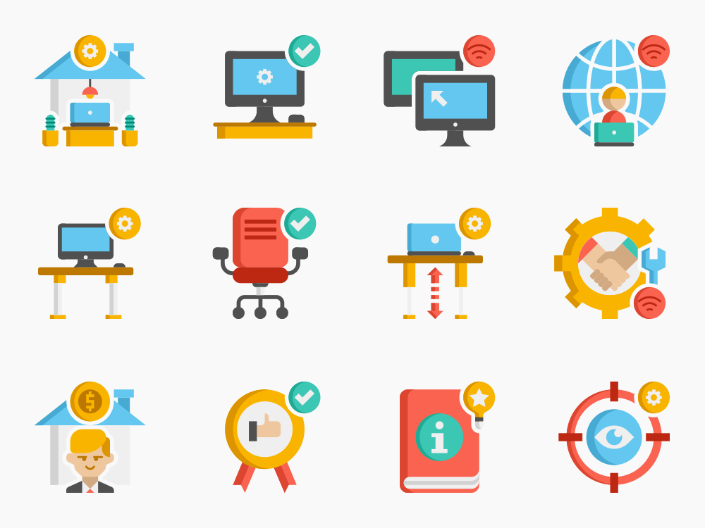 70 Work From Home Icon Set 1