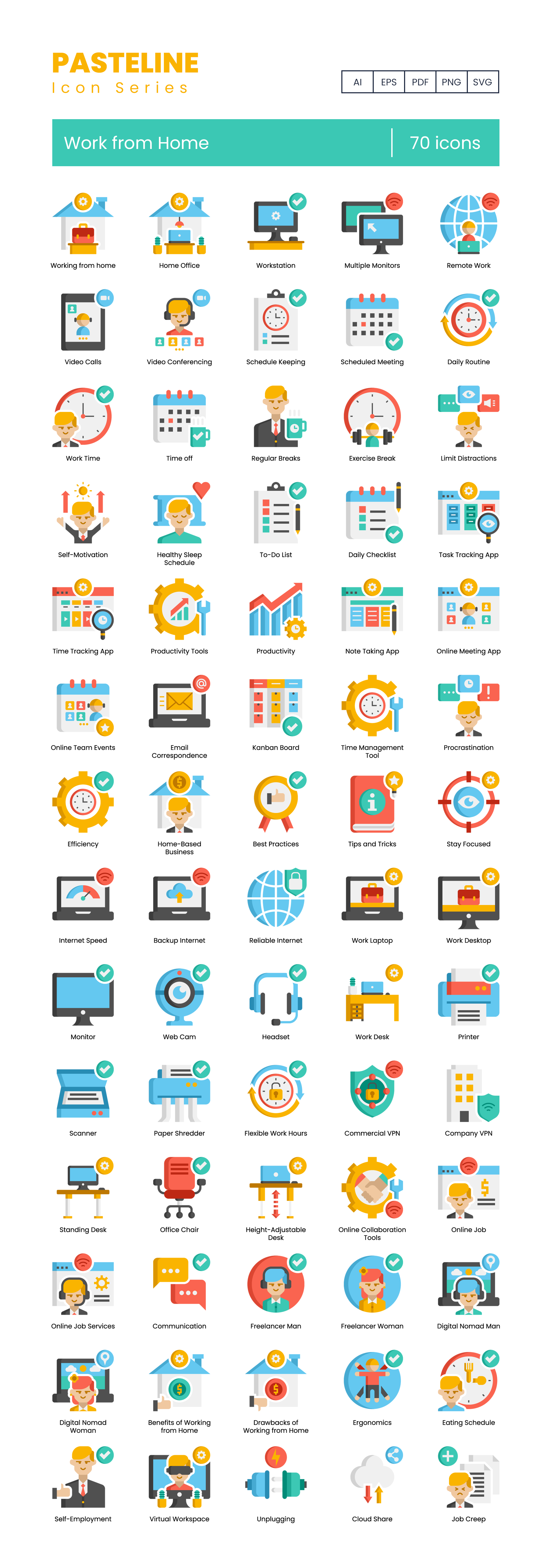 work from home vector icons set