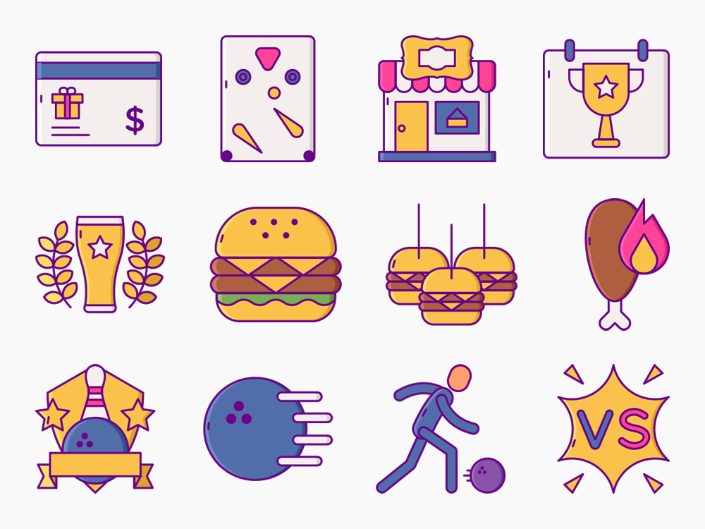 80 Bowling Alley & Arcade Icon Set 2