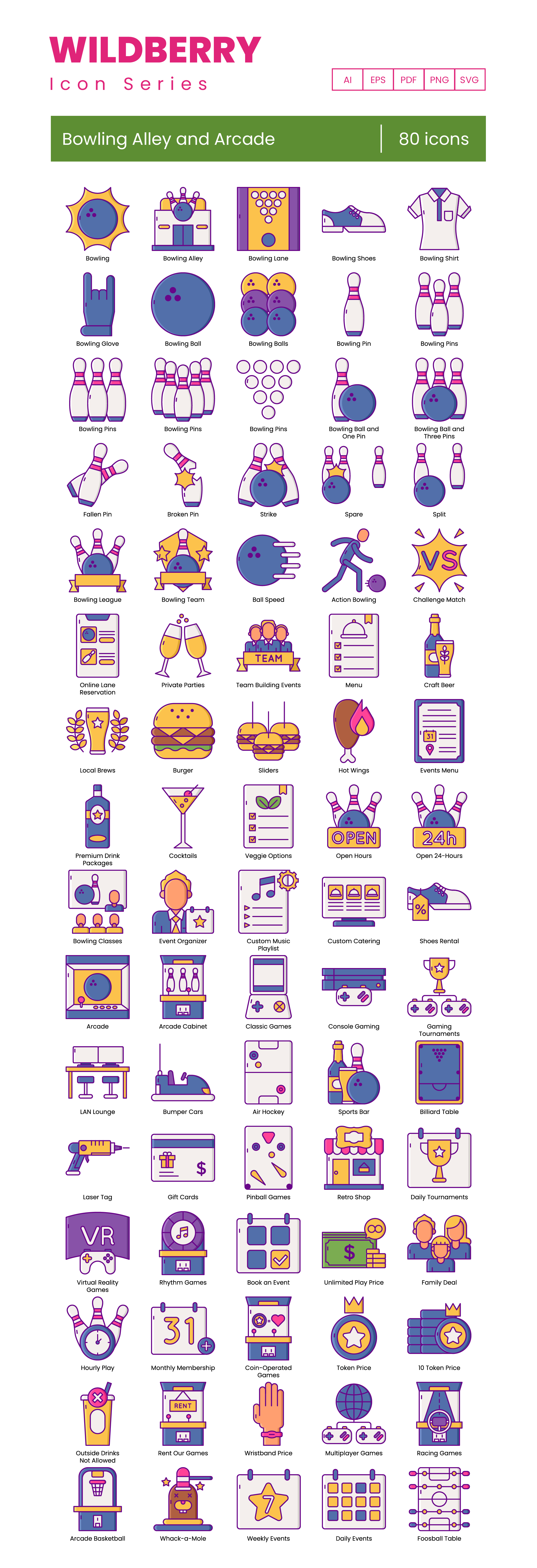 bowling alley arcade vector icons